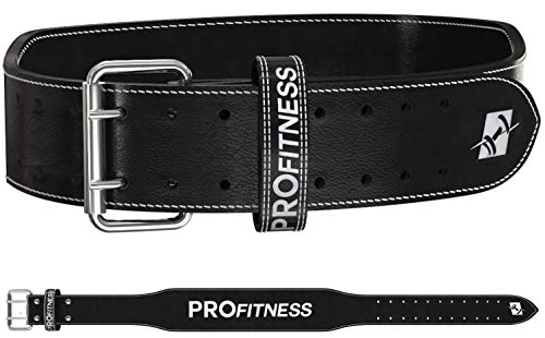ProFitness Weightlifting Belt Adjustable Squat core Power Female Womens Buckle Workout (Black/White, X-Large)