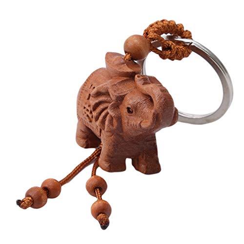 Llavero de madera con colgante de elefante de la suerte