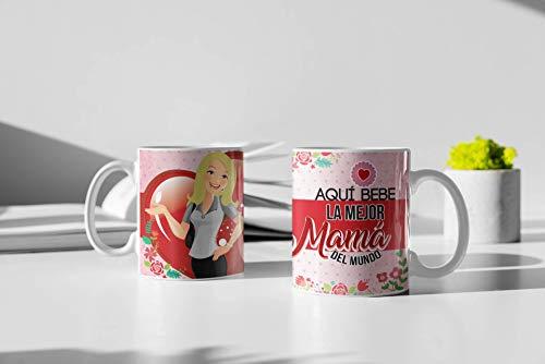 Taza de Desayuno Personalizadas y Divertidas para Las Mamas. -Aquí Bebe la Mejor Mama del Mundo.- Taza Decorativa para Regalo Original y Divertido con Caja. (11oz) 350 ml. (Pelo Rubio)