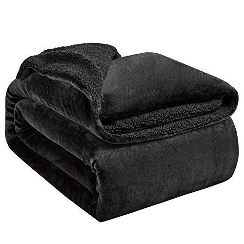 Hansleep Sherpa Decke 130 x 165 cm Schwarz Wohndecke Zweiseitige Kuscheldecke extra Dick & Warm Sofadecke/Couchdecke Mikrofaser Sofaüberwurf Superweich und Flauschig Fleecedecke für Bett und Sofa