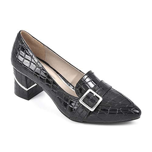 RIALTO Women's Foremost Croc Print Size 9.5 Loafer, Black/Cprint Patent