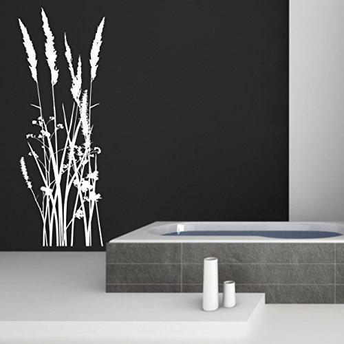 greenluup ökologisches Wandtattoo Schilf Gras Gräser in Weiß