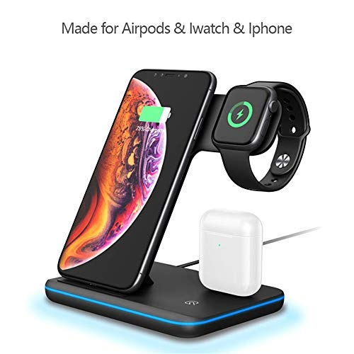 Radiancy Inc Draadloze Oplader Airpods Apple Iwatch Android Universele Telefoonstandaard Multi-functie, 101x136mm, A