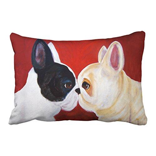 Emvency Pillowcases Cute Love French Bulldog Animal Oil Painting Art Pillow Cover 20 x 30 Inch Queen Size Rectangle Sofa Cushion Decorative Pillowcase with Hidden Zipper Home Sofa