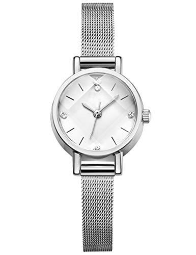Reloj Mujer Fino Acero Inoxidable Reloj Infantil Niña Impermeable Elegante Plata Relojes de Pulsera Deportivos Malla Analogicos Reloj para Niños Esfera Blanca Fecha
