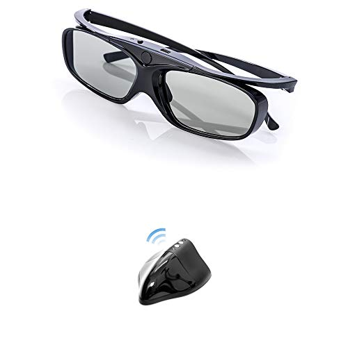 Hi-SHOCK RF Kit für Optoma 3D Projektoren mit 3D SYNC Port | Optoma HD50, Hd30, HD161X, HD151X, HD141X, HD26, HD25, Hd36 usw | 1x 3D-Brille & RF Emitter [96-144 Hz | wiederaufladbar]