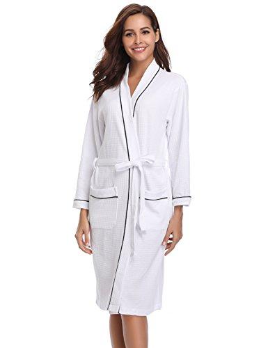 Vlazom Peignoir Femme Coton Gaufré léger Robe de Chambre Unisexe Spa Sauna Peignoir de Bain Eponge,M,Blanc-style A
