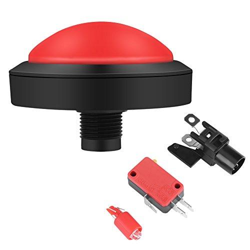 Arcade-Tasten-LED, 100 mm große Arcade-Taste mit LED-Convexity-Konsolen-Ersatz + Mikroschalter + Knopfhalter, DC 12 V (rote Taste)