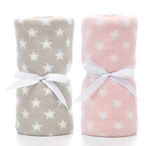 LeerKing Paquete de 2 Manta Polar para Bebes Recien Nacidos con Patrón de Manchas y Estrellas para Niña y Niño 75 * 100CM, Gris & Rosa
