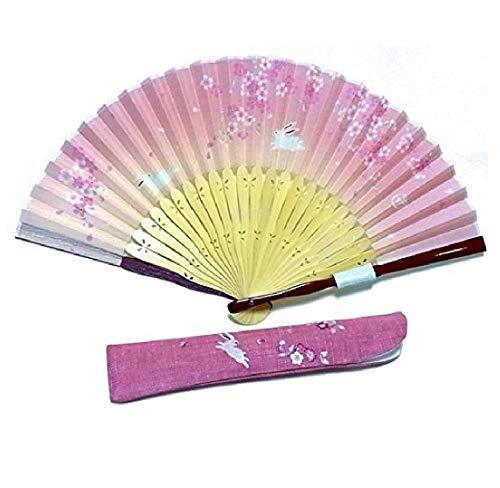 【女性用扇子】弥生 扇子袋セット ピンク 桜 うさぎ R25701-42