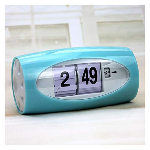 yywl Reloj Despertador Decoración automático de Alarma del Reloj del tirón Pasando Página 12 Horas Número Reloj de la Tabla (Color : Sky Blue)