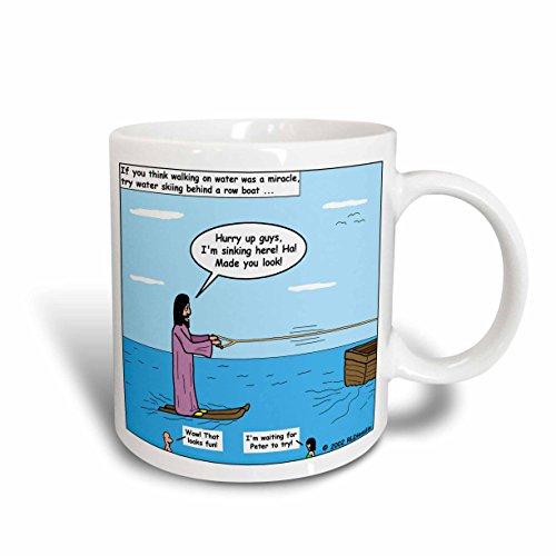 3dRose mug_2637_2 Jesus Wasserski Keramiktasse, 425 ml, Weiß