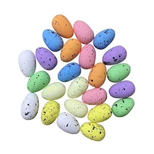 Amosfun Huevos de codorniz Falsos Coloridos Huevos Artificiales DIY Foto Prop pájaros Huevos Adorno para decoración de Fiesta de Oficina Suministros 100 Piezas 3 cm