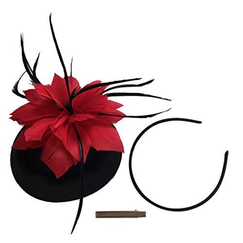 Bonarty Fascinators Hut Stirnband Haarband Haarspange Blumen Mit Feder, Kostüm - Schwarzer Hut + Rote Feder