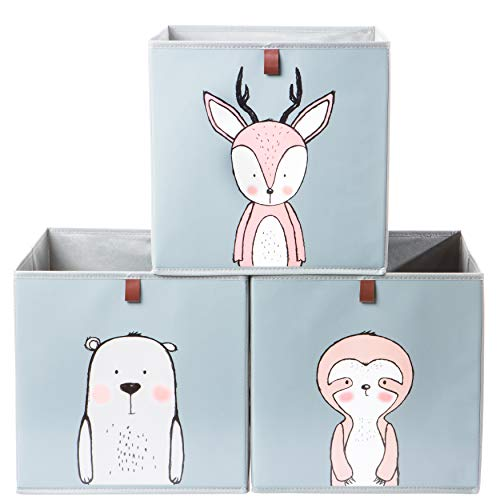 2friends Aufbewahrungsboxen für Kinder - 3 Stück mit Schlaufe zum Herausziehen
