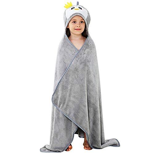 Toalla de baño con capucha para niños y niñas, 100% algodón orgánico GM Success (gris)