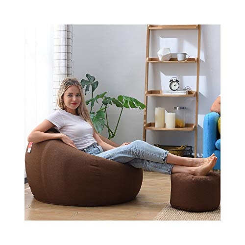 ZYLE Lazy Couch Bean Bag Tatami Thick Cushion Comfortable Casual Multifunctional Chair Bedroom Living Room Single Fabric Sofa with Footstool (Color : Brown, Size : XL)