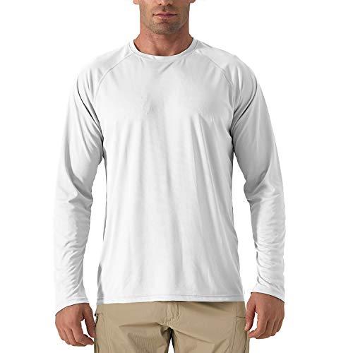 KEFITEVD Herren UV Shirt Outdoor Sonnenschutz Langarmshirt Polyester Funktionsshirt Sport Shirt Fitness Joggen Wassersport Performance T-Shirt Weiß XL