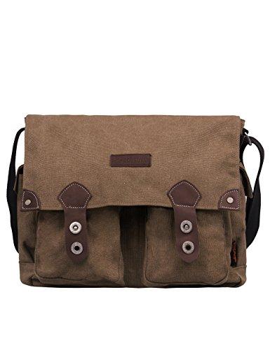 Douguyan Herren Canvas Umhängetasche Vintag Messenger Bag Jugendlich Dokumententasche eignet für Laptop bis 14 Zoll, Camara, Tablet PC E43608 Braun