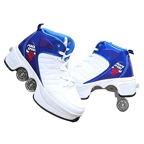 HealHeatersⓇ Multifunktionale Deformation Schuhe Quad Skate Rollschuhe Skateboard Schuhe, Doppelte Fahrbare Rollen-Schuhe Outdoor Sportschuhe Für Erwachsene,40