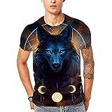 3D Printed Short-Sleeved T-Shirt Men Planet Blue Wolf Head Top