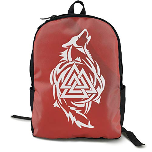 Odin Thor Viking Tribal Norse Wolf Valknut Sticker Shoulders Travel Bag Fashion Printing Backpack with Multiple Pockets