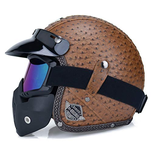 Open Face Motorradhelme mit Sonnenblende PU Leder Open Face 3/4 Chopper Fahrradhelm DOT