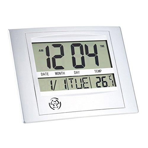 Formulaone TS-H129Y Digitaler LCD-Kalender-Wandwecker mit Schlummerthermometer Hygrometer Temperatur - wie auf dem Bild zu sehen