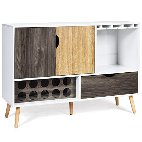 Giantex Buffet Sideboard, Storage Credenza, Wood Console Table, Kitchen Dining Room Cupboard, Pantry Cabinet with 10 Bottle Wine Rack, Glass Holder, Drawer (White & Wood)