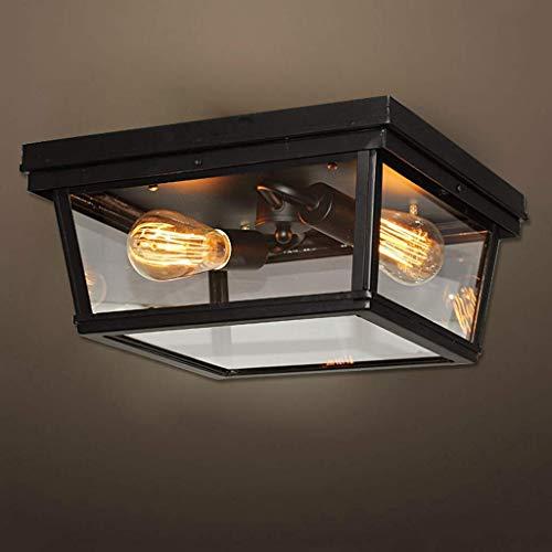 Vintage plafondlampen, retro-stijl metalen vierkant lampenkap 4-pits plafondlamp E27 lamp houder voor keuken, slaapkamer, badkamer, woonkamer plafond industriële verlichting