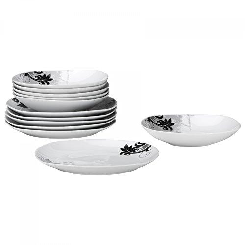 Tafelservice Black Flower 12-teilig eckig Porzellan für 6 Personen weiß mit schwarzem Blumendekor