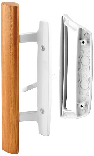 """Prime-Line C 1204 Sliding Glass Door Handle Set – Replace Old or Damaged Door Handles Quickly and Easily – White Diecast, Mortise/Hook Style (Fits 3-15/16"""" Hole Spacing)"""