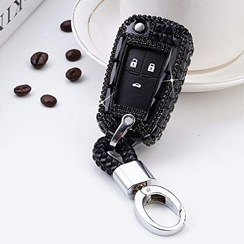 UIEMMY Diamond Crystal Car Key Case Cover Holder For Chevrolet For Buick for Cruze Aveo Trax Opel Astra Corsa Meriva Zafira Antara J,A,Black Keychain