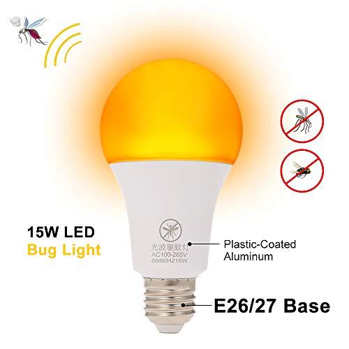 Galapara Bombillas LED, E26 / 27 12W Bombilla Repelente de Mosquitos No UV 570-590nm Luz de Noche de Longitud de Onda para Uso en Interiores al Aire Libre Larga Vida útil Ahorro de energía