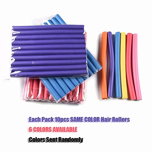 10pcs Flexi Rods Curlers for Natural Hair, Flexible Curling Rods Easy No Heat Soft Foam Hair Rods Rollers Sleep in Twist-Flex Rods Curler for Short Medium Long Straight Hair Styling