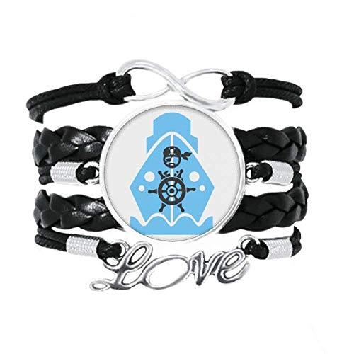 OFFbb-USA - Pulsera de navegación para volante pirata (cuero), diseño de amor