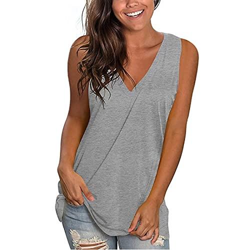 MORCHAN Femmes Plus Size Summer Tournesol Imprimer Col Rond sans Manches T-Shirt Top Tank
