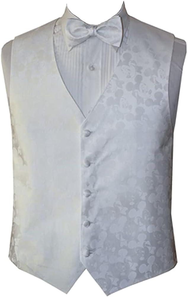 Men's Mickey White Tone on Tone Vest and Bow Tie