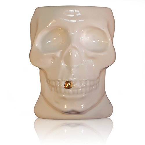 Skull Mug that Glows, can be used with Candles, Hand Painted Real 22k Gold Tooth and Decoration, Made with the Finest Bone China in Staffordshire, England