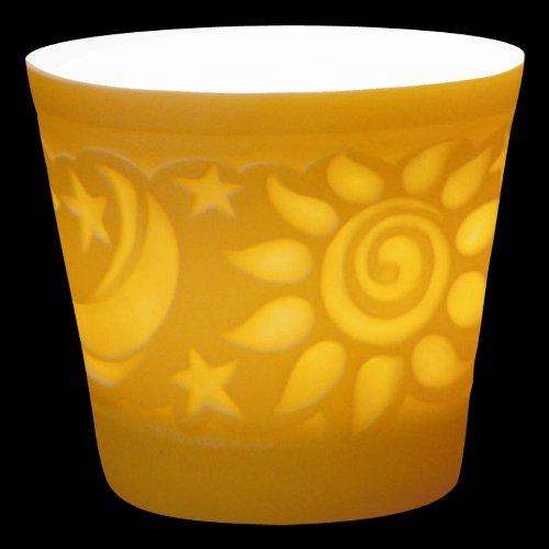 Weimar Porzellan Windlicht Sonne und Mond Lithophanie Tischlicht Teelichthalter NEU OVP