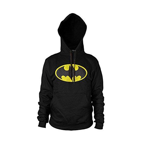 Batman Distressed Logo Hoodie (Noir), Large