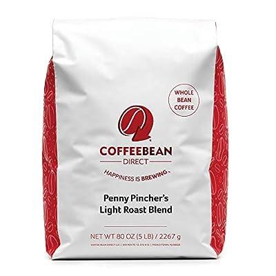 Coffee Bean Direct Penny Pincher's Light Roast Blend, Whole Bean, 5 Pound Bag