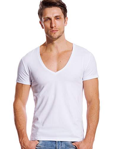 JOHNNYOLA Men Deep V Neck Shirts White T Shirt Short Sleeve V-Neck Basic Tee Casual L