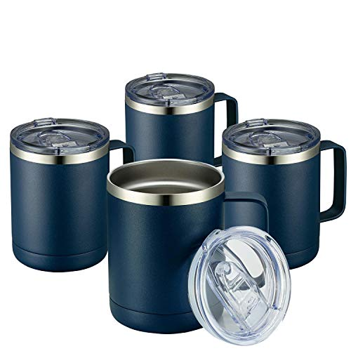 MEWAY 12oz Coffee Mug With Handle 4 Pack Bulk,Stainless Steel Insulated Travel Tumblers With Sliding Lid,Double Wall Vacuum Camping Cup for Hot & Cold Drinks Tea (Navy,Set of 4)