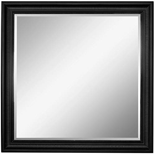 Scan-Trader Spirit Speigel Garderobenspiegel Moderner Vintage Wandspiegel Flurspiegel mit Schwarz Holz Dekorativer Landhaus-Stil Rahmen für Flur, Garderobe, Wohnzimmer, 113,5x113,5x5 cm