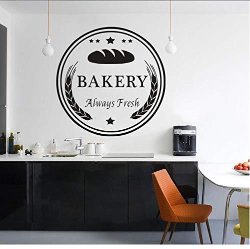 MUXIAND Bakkerij Winkel Raam Muursticker Taarten En Brood Bewaren Decoratie Vers Bakken Brood Muursticker Restaurant Vinyl Mural 57x57cm