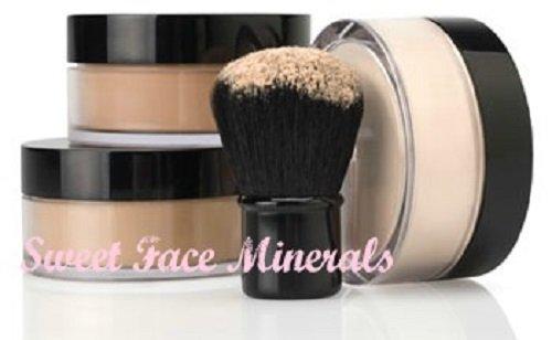 4pc FULL SIZE KIT (BEIGE) w/KABUKI Mineral Makeup Matte Loose Powder Bare Face Cosmetics Full Coverage Long Lasting All Skin Types SPF 18