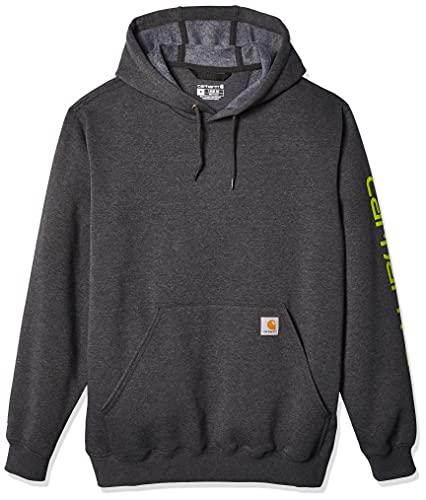 Carhartt Midweight Sleeve Logo Hooded Sweatshirt Sudadera con capucha, Carbon Heather, M para Hombre