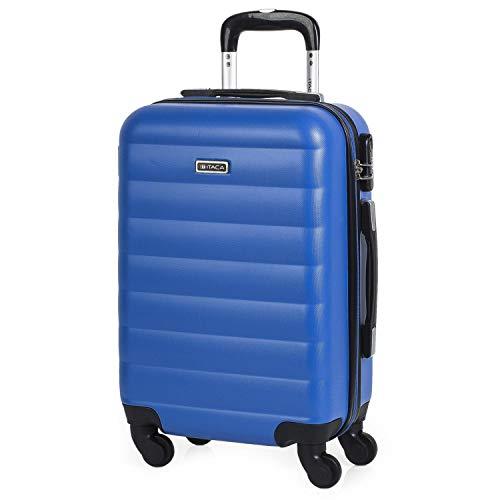 ITACA - Maleta Cabina de Viaje rígida 4 Ruedas Trolley 55 cm abs. Equipaje de Mano. pequeña cómoda Ligera y Bonita. Low Cost ryanair Precio. 71250, Color Azul