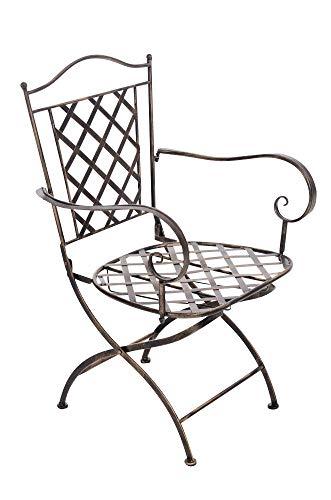 Chaise De Jardin en Fer Forgé Adara I Chaise De Jardin Pliable I Design Antique avec Accoudoirs I Hauteur De l'Assise: 43 cm, Couleurs:Marron Clair